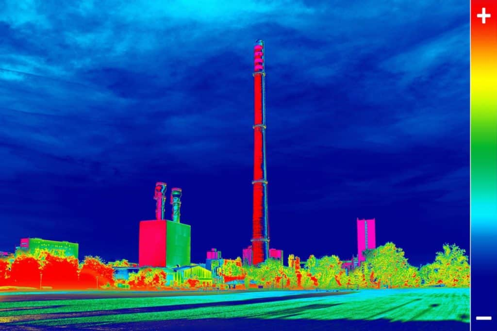 Aerial thermal image of a factory chimney