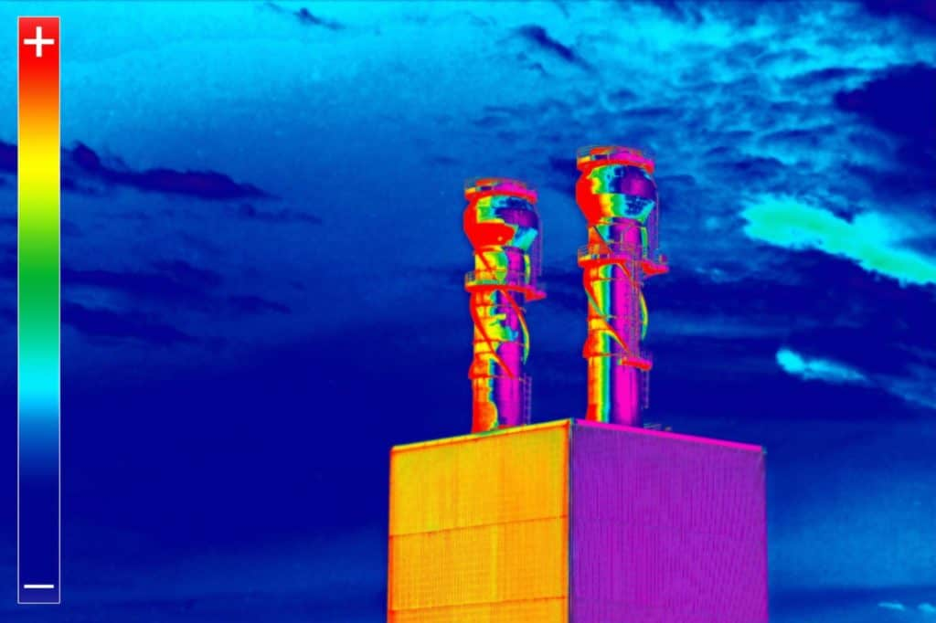Aerial thermal imaging of chimney stack